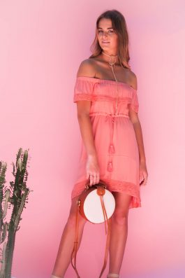 palm collective off the shoulder pink dress with lace detail