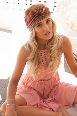 palm collective dress with pink lace detailing