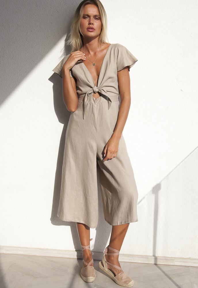 Ruby Long Linen Jumpsuit Palm Collective Tie Front Culotte pant Buy Online