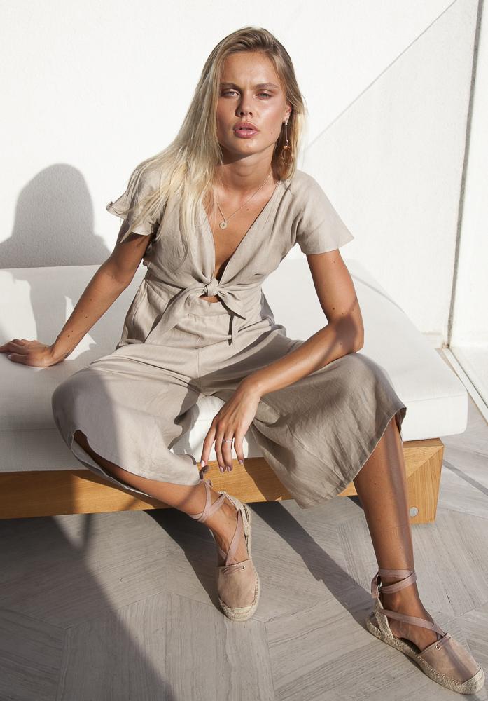 Ruby Long Linen Jumpsuit Palm Collective Tie Front Culotte pant