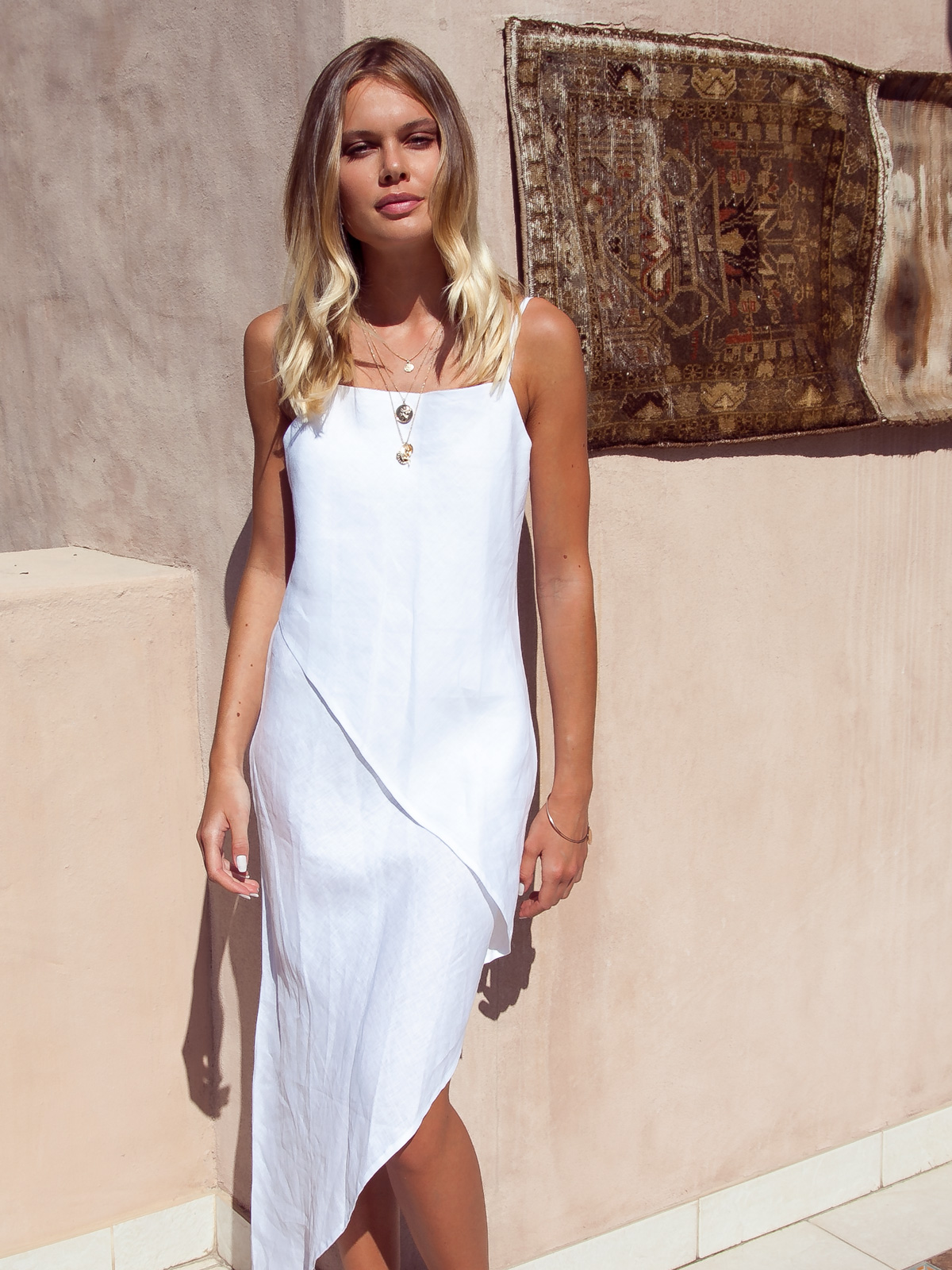 Kate Asymmetrical Linen Slip Dress White Palm Collective