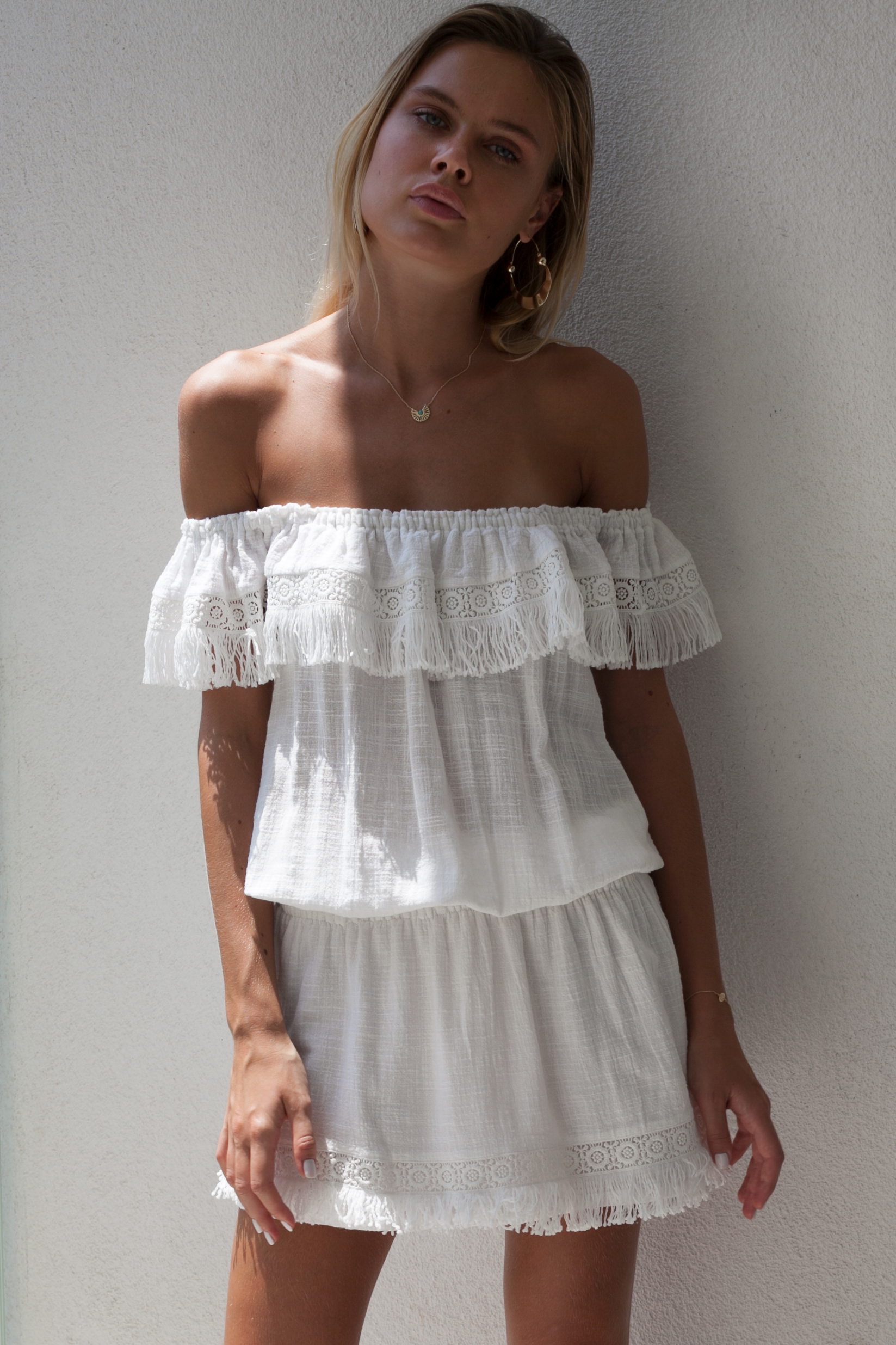 8b2ce6c675 Nina Cheesecloth Bohemian White Dress Off the Shoulder Summer Boho Cotton  Dress