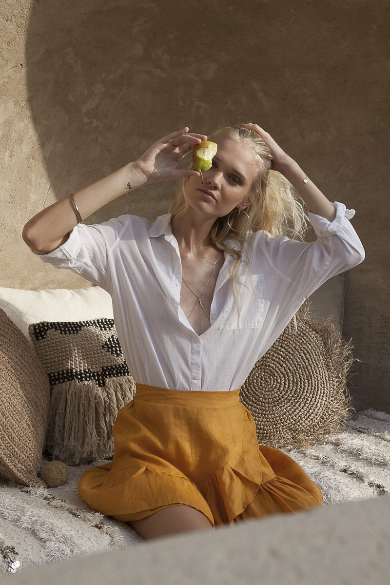 Palm Collective Resort 17 Lola Linen Wrap Skirt Ra - Ra Skirt in Mustard Gold with Ruffle detail outfit to wear in Italy