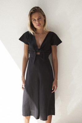 Palm Collective Resort 17 Black Linen Jumpsuit with culloutte pant