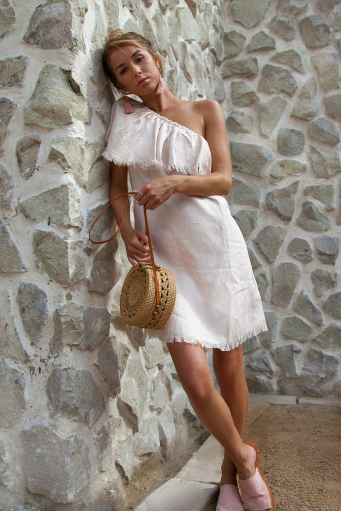 Ellis-One-Shoulder-Linen-Dress-in-Pale-Pink-with-Flounce-Detail- Positano Outfit inspo vacation clothes