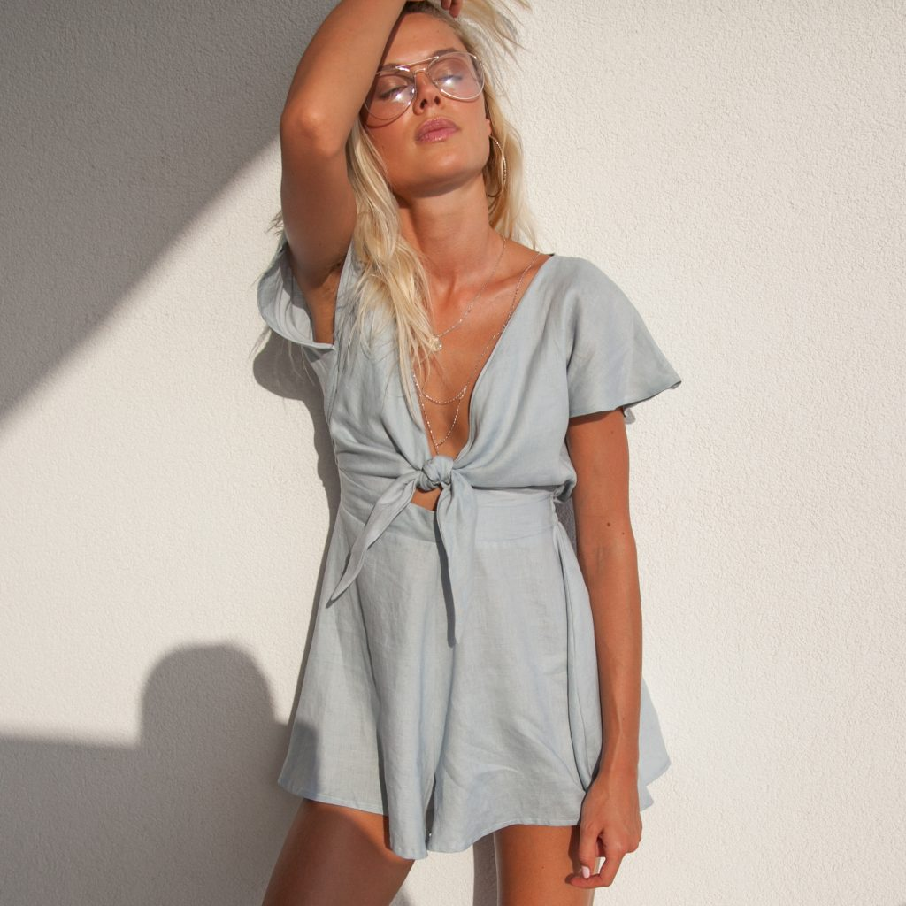 Must have rompers to wear in Italy or Positanoon your summer vacation by Palm-Collective-blue-playsuit-linen