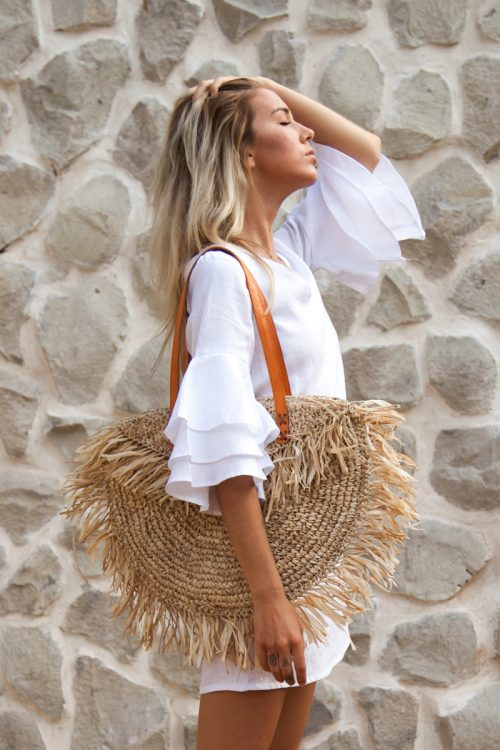 Outfit inspo for trip to Italy- Amalfi Coast- White-Summer-Dress-French-Linen-with-Sleeves-Palm-Collective