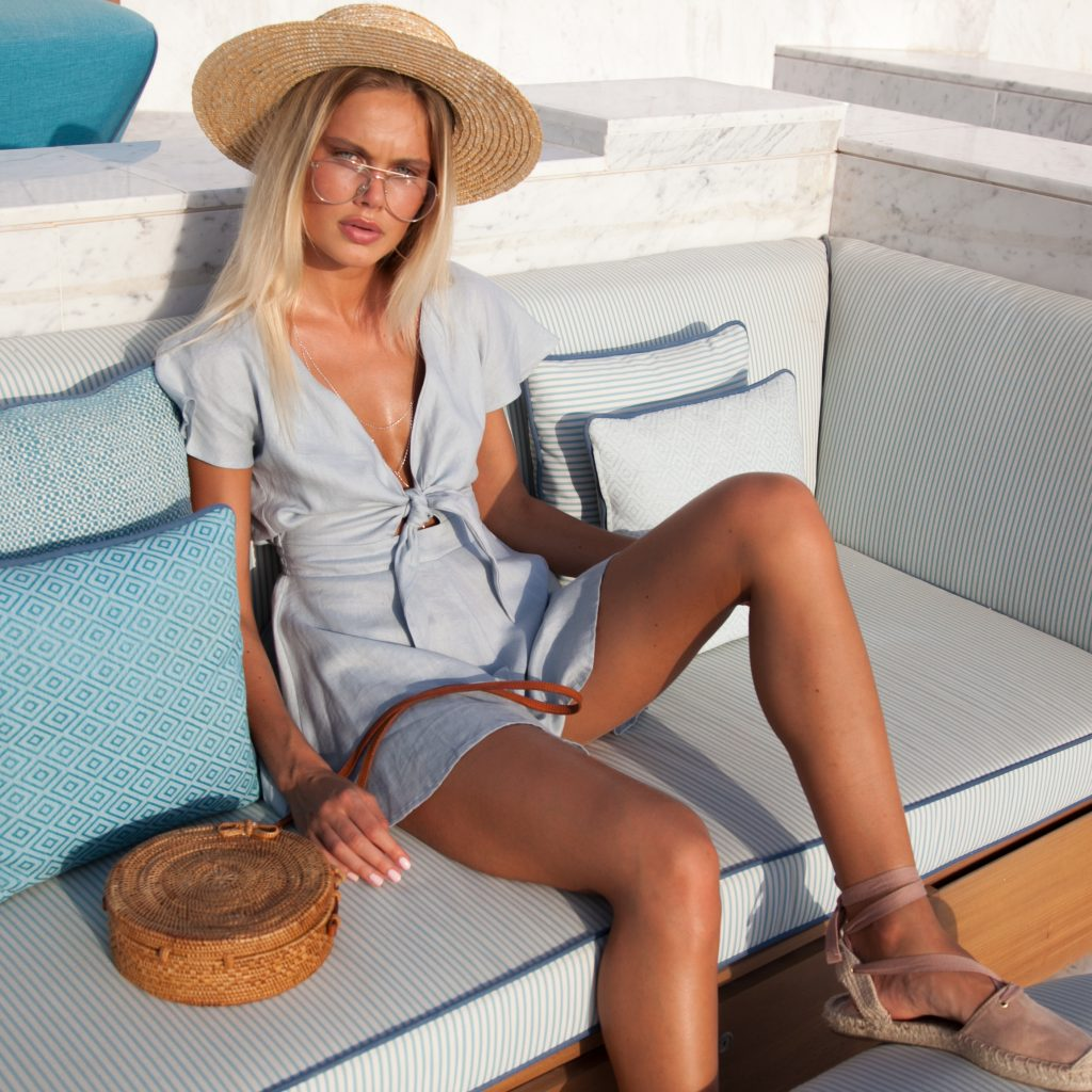 Palm-Collective-Blue-tie-front-romper-linen Positano looks we are in love with