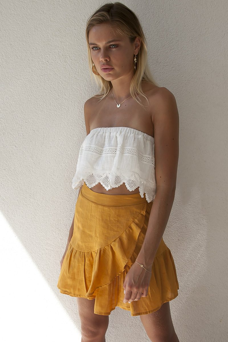 Palm Collective Resort 17 Lola Linen Wrap Skirt Ra - Ra Skirt in Mustard Gold with Ruffle detail