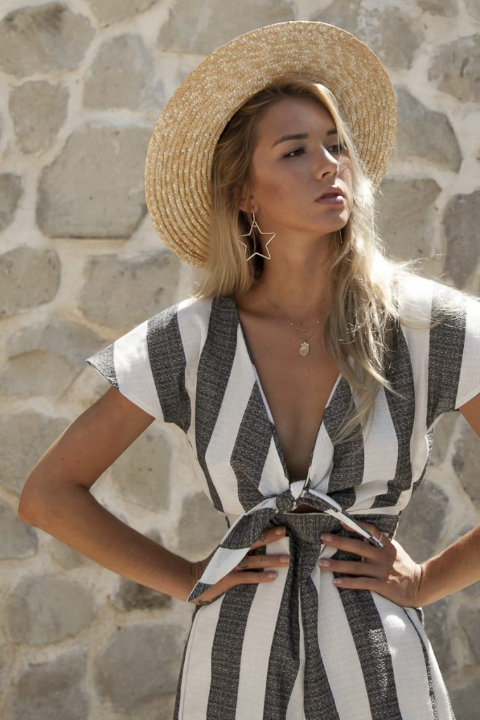 Must have clothing pieces and outfit inspo to wear to amalfi coast Italy or Positano or Isle of Capri by Palm Collective Resort 17 Striped Jumpsuit Linen Tie Front Ruby_2