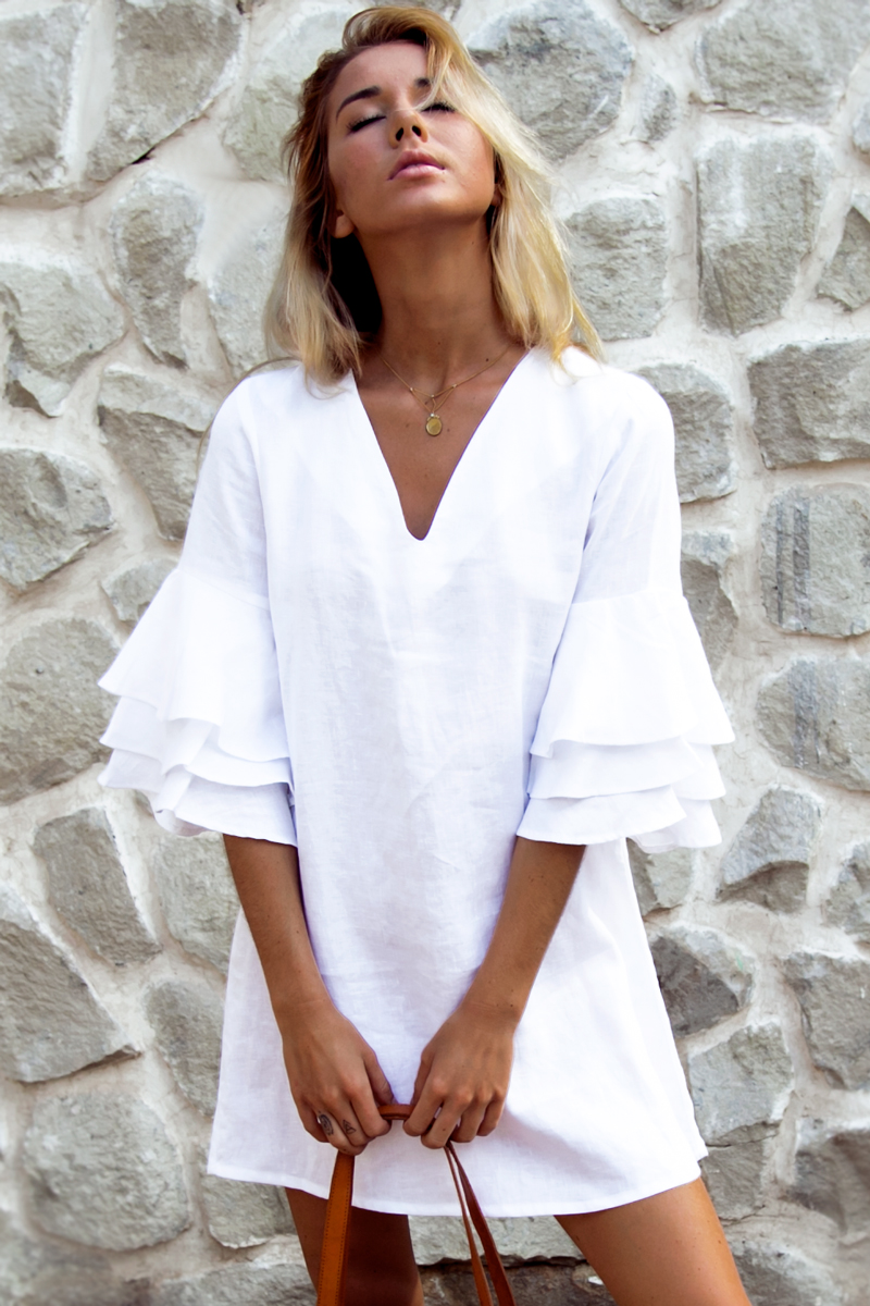 White-Linen-Dress-Resort-2017-Palm-Collective White dress to wear in Positano Italy for summer vacation 2017