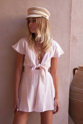 PC-Ruby-Pink-Linen-Playsuit-Jumpsuit-Australia-Buy-Online-Wholesale-Linen-Clothing-Brands-Short-summer-playsuit-tie-front