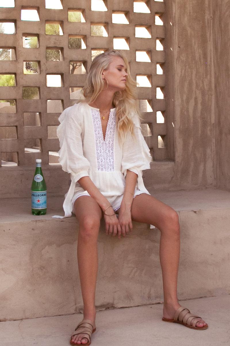 Capri Cotton Gauze White Romper Playsuit Buy Online Palm Collective 5