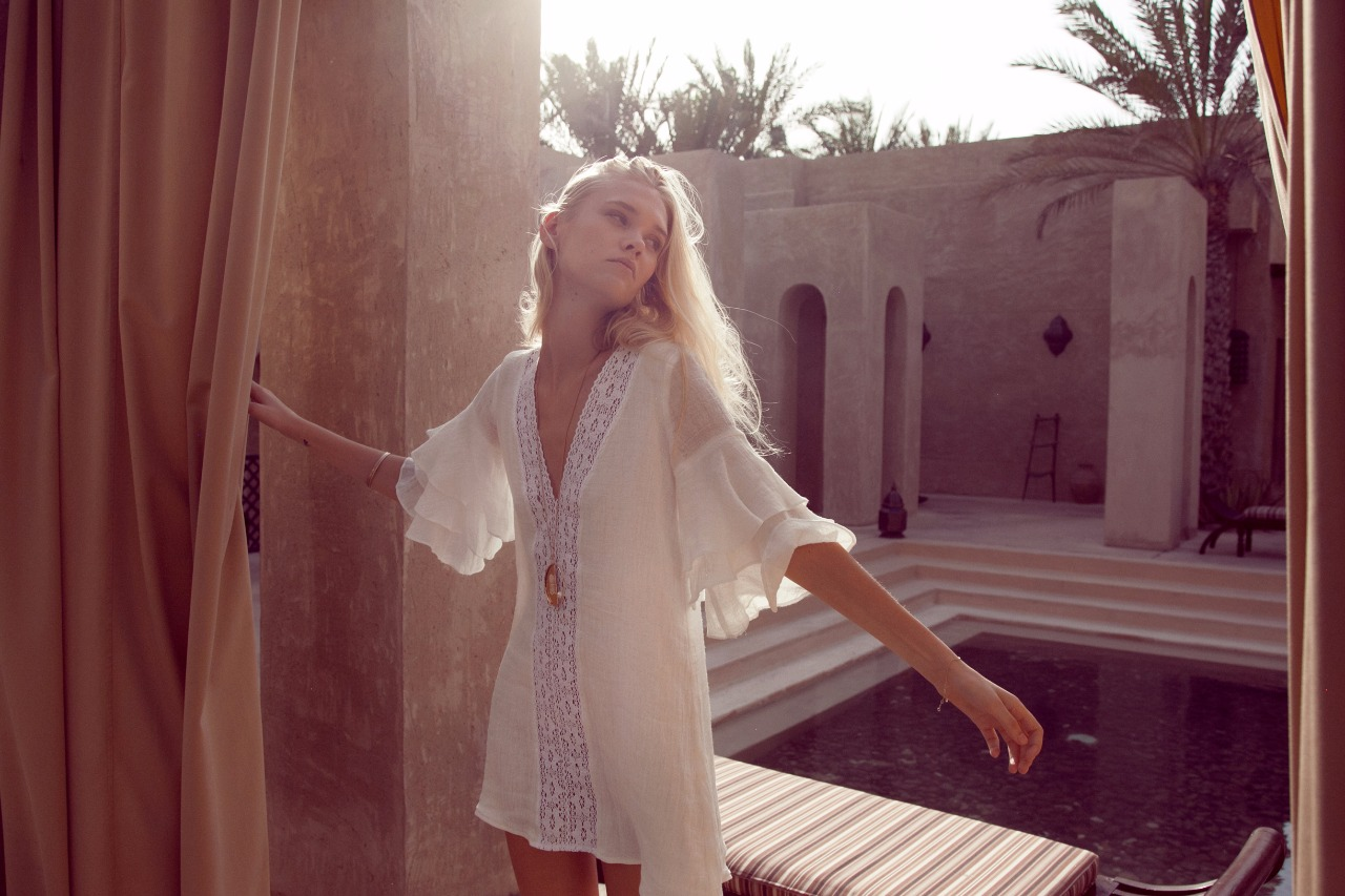 Palm Collective white summer dress with sleeves
