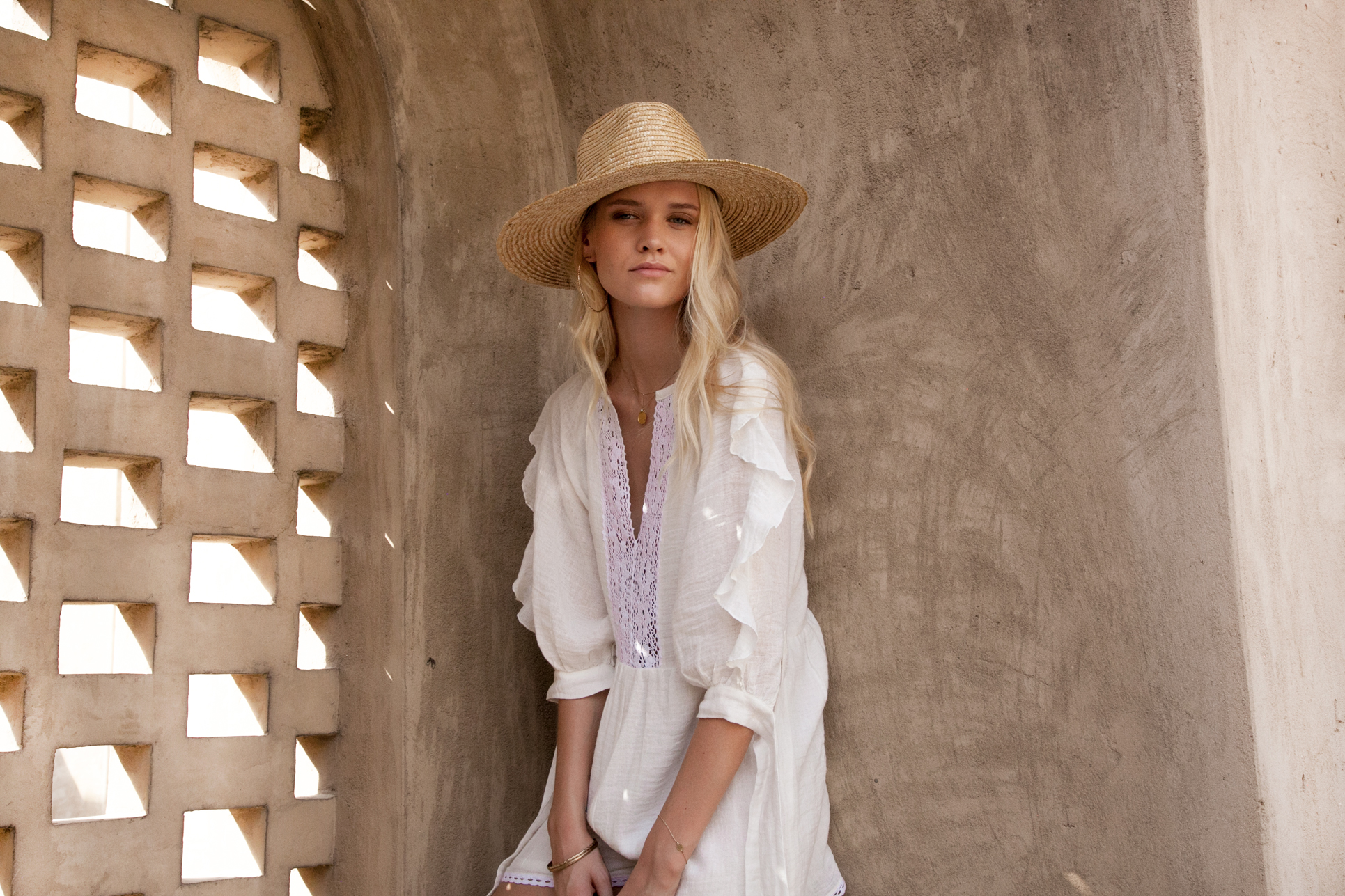 White Summer Playsuit Cotton cheesecloth Australia Palm Collective