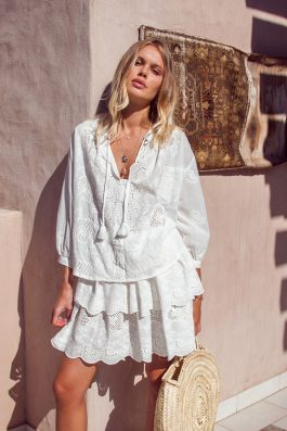 Summer Bohemian-Blouse-and-Skirt-Matching-Set-White-Stella-Skirt-and blouse in lace -Palm-Collective