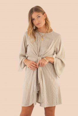 Rosie Striped summer dress with sleeves Palm Collective