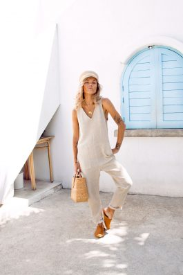 Pixie Natural Cotton Gauze Jumpsuit Palm Collective