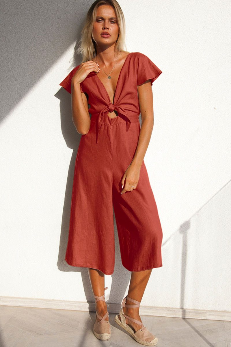 e7629e6ab5f Ruby Tie Front Long Linen Jumpsuit – Terracotta