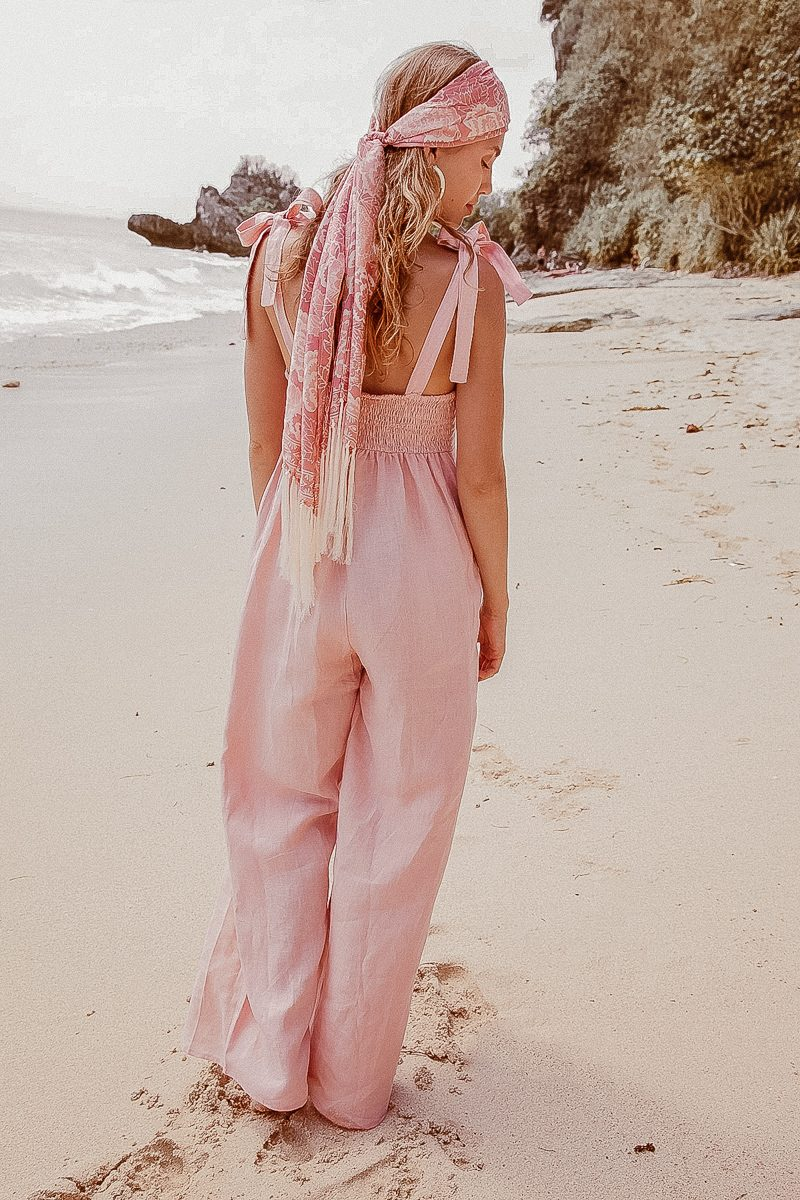 Long Loose Fit Wide Leg Ladies Bonnie Jumpsuit in Linen Pale Pink.
