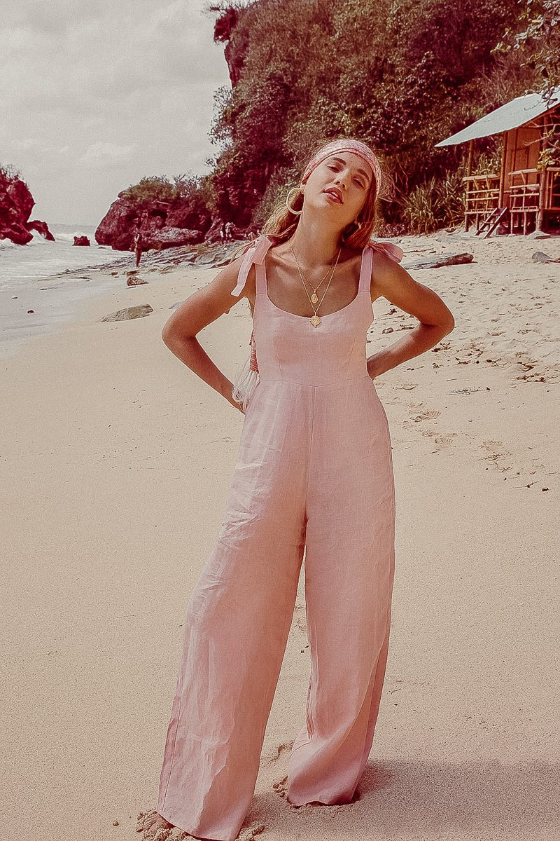 Long Loose Fit Wide Leg Ladies Jumpsuit in Linen Pale Pink