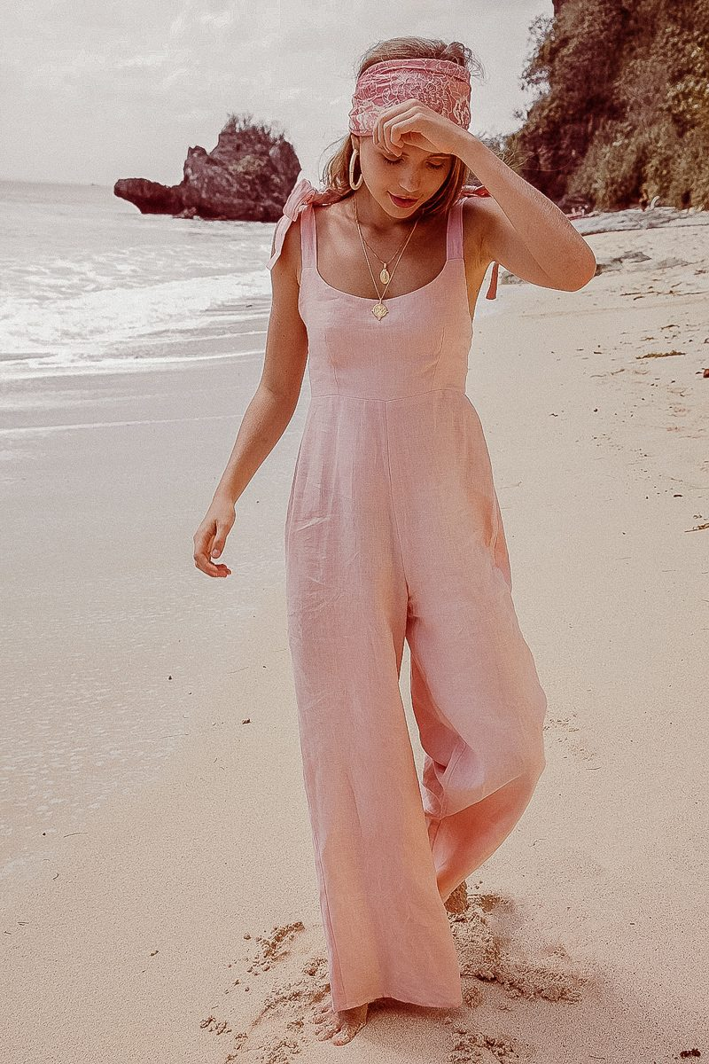 Long Loose Fit Wide Leg Ladies Jumpsuit in Linen Pale Pink by Palm Collective Bonnie