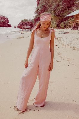 Long Loose Fit Wide Leg Ladies Jumpsuit in Linen Pale Pink. Palm Collective