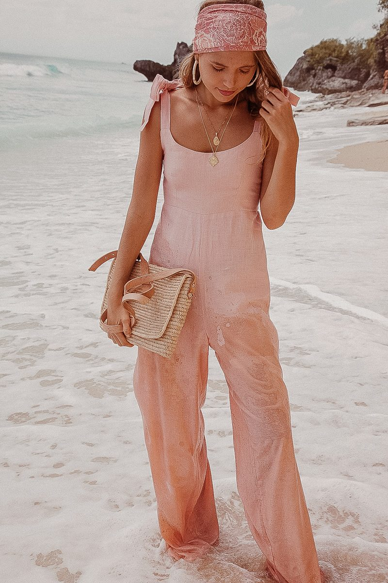 Long Loose Fit Wide Leg Ladies Jumpsuit in Linen Pale Pink. Palm Collective Sustainable Fashion Linen Jumpsuit The Bonnie