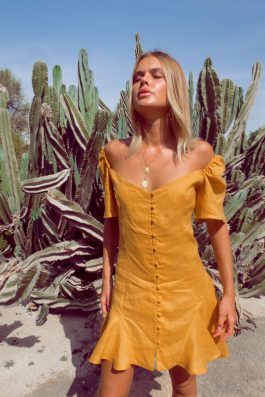 Marisole-Linen-Dress-in-Marigold-colour-by-Palm-Collective-wholesale-linen-clothing-supplier