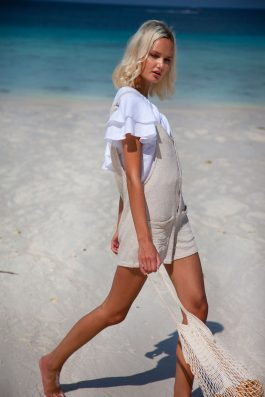 Sierra Overalls shirt length Natural Linen Dungarees Ladies Summer Beach Clothing