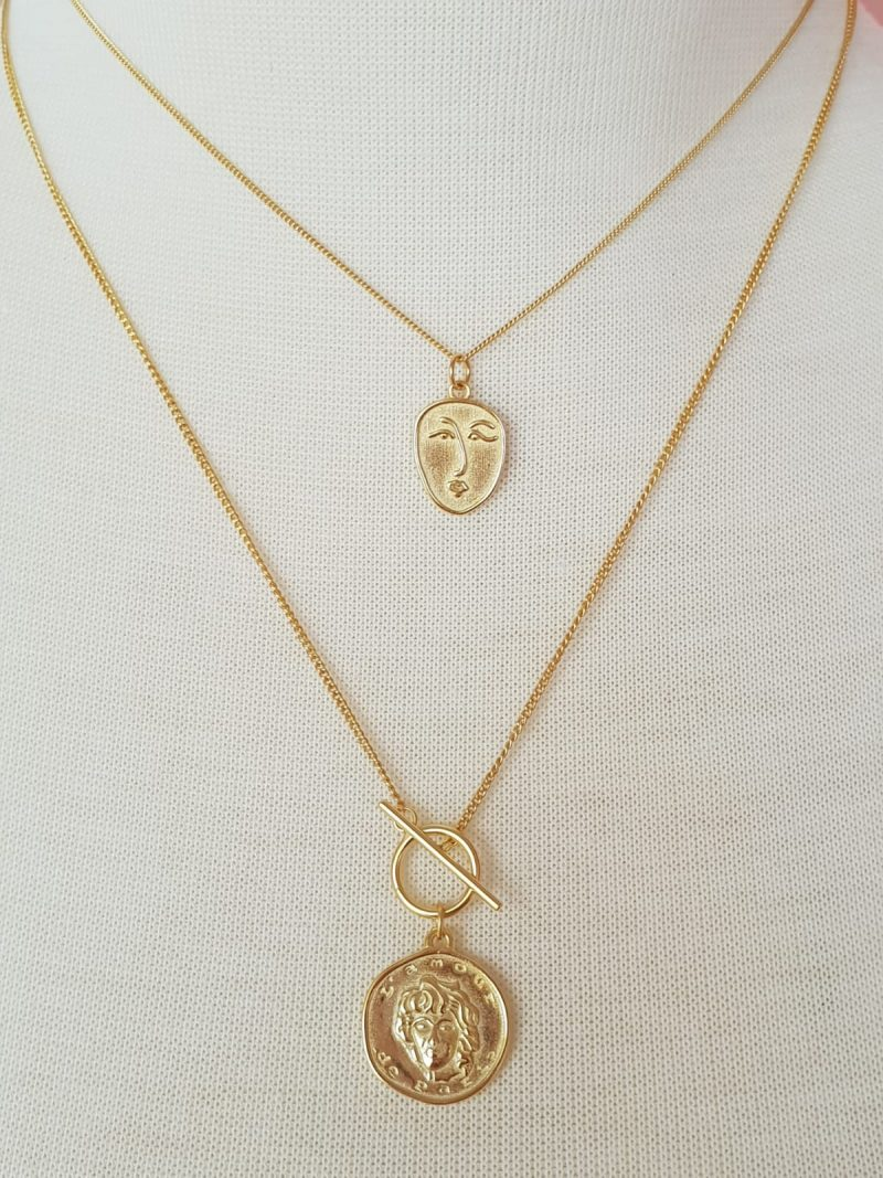 Gold Coin Necklace fine chain buy online Australia