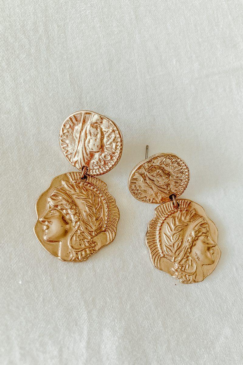 Gold Coin Earrings sterling silver base buy online