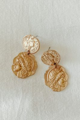 Gold Coin Earrings sterling silver base buy online