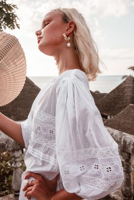Flora White Bohemian Cotton Dress with Lace trim sleeves by Palm Collective