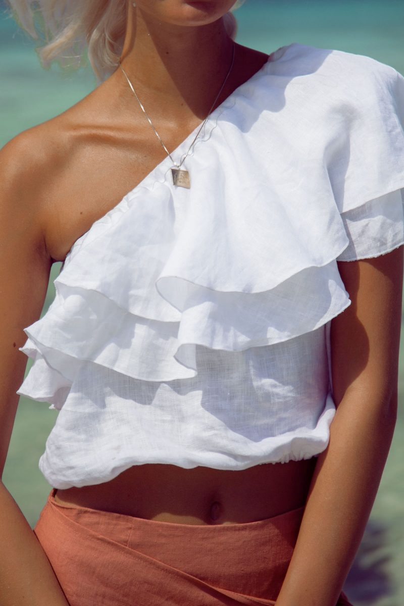 Sicily One shoulder top blouse linen by palm Collective