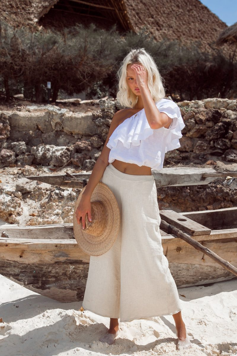 Sicily Whote One shoulder top blouse linen by palm Collective