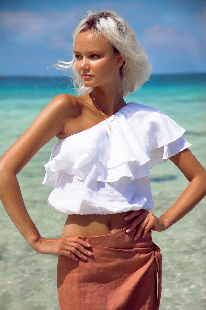 Sicily shoulder top blouse linen by palm Collective 2