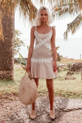 Zimmy Dress by Palm Collective- Linen and lace mini dress for wedding guest outfit