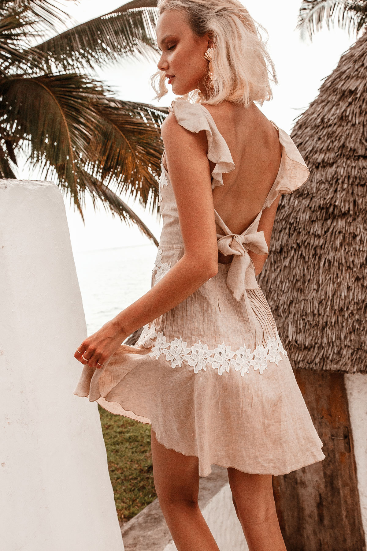 0cb8f956ba Zimmy Dress by Palm Collective- Linen and lace mini dress for wedding guest  outfit