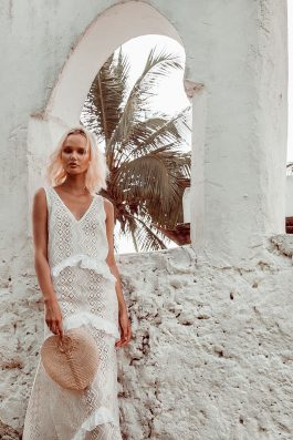 Elle Lace Maxi Dress shot in Zanzibar at Chuini Beach Resort