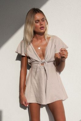708adf3faa Ruby Romper by Palm Collective Resort Bone Linen Playsuit Romper Online  Boutique