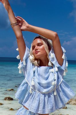Villa Rosa Top by Palm Collective striped Blue and White Ladies Summer Blouse with Sleeves and Tassels