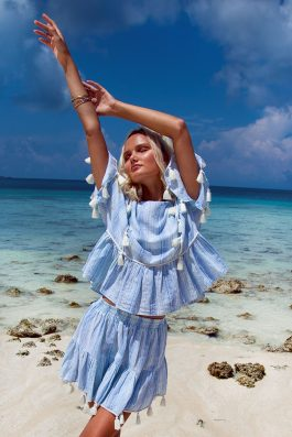 Ladies Blue and White Skirt and Top Matching Summer Beach Outfit with Tassels by Palm Collective