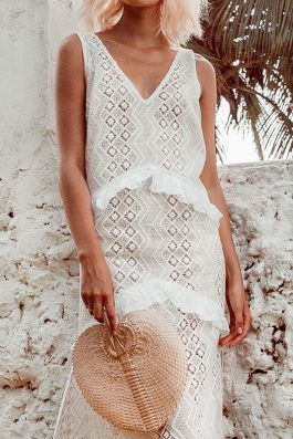 White Lace Maxi Dress by Palm Collective Sleeveless 2