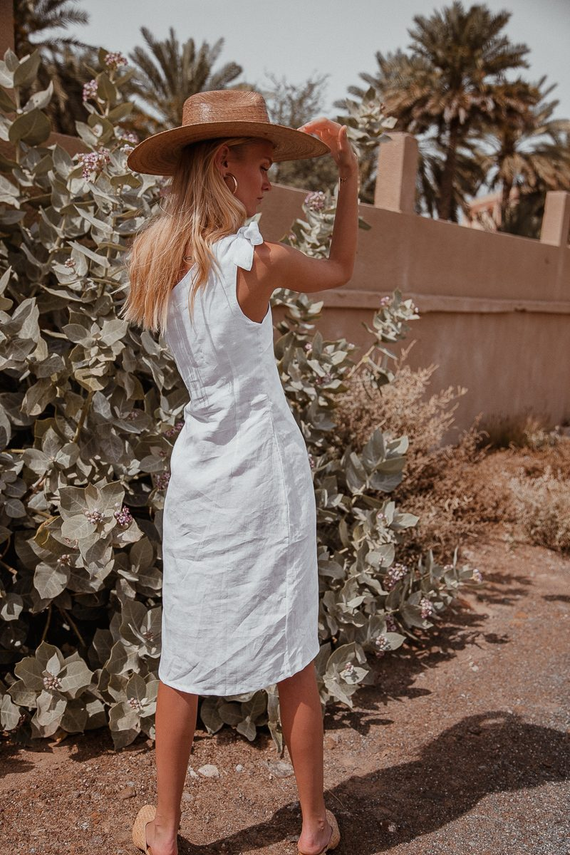 Bella linen dress one shoulder by Palm Collective