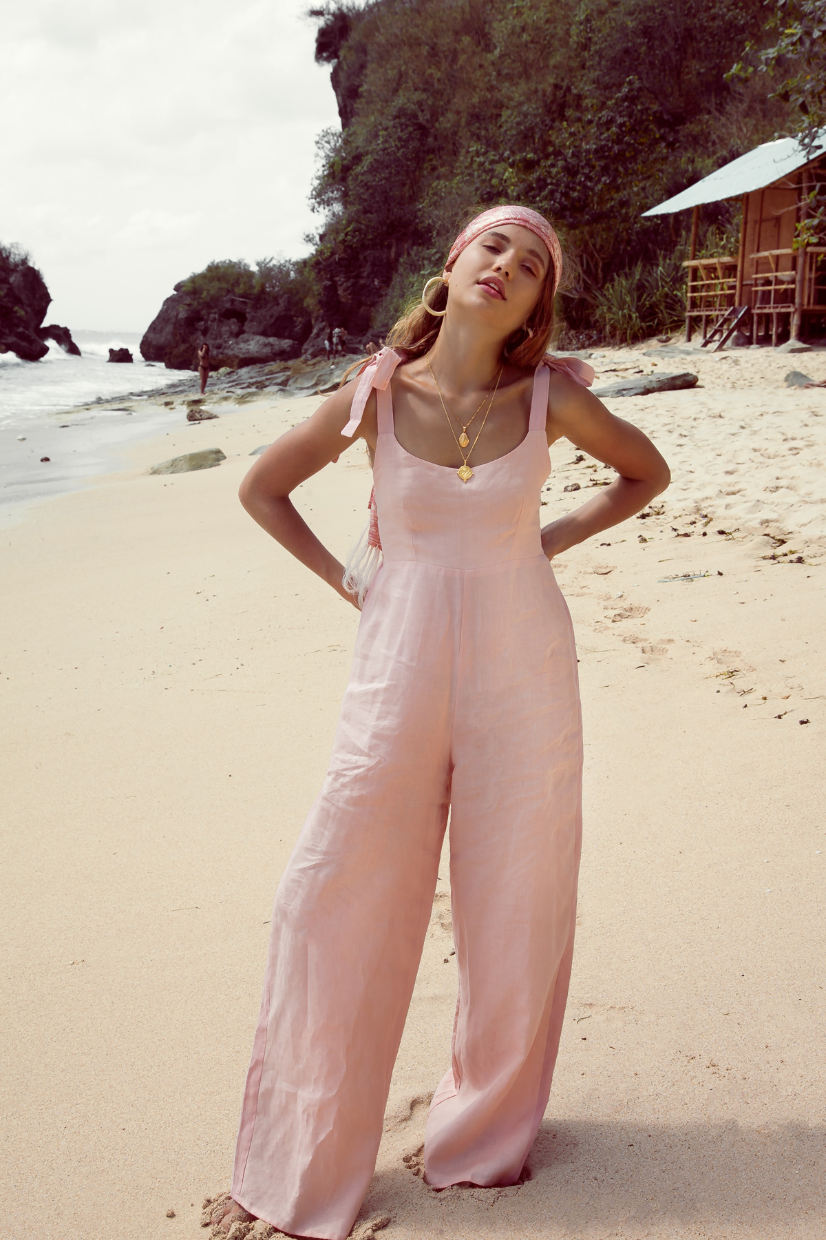 Sustainable Fashion Outfit Wide Leg Ladies Jumpsuit in Linen Pale Pink