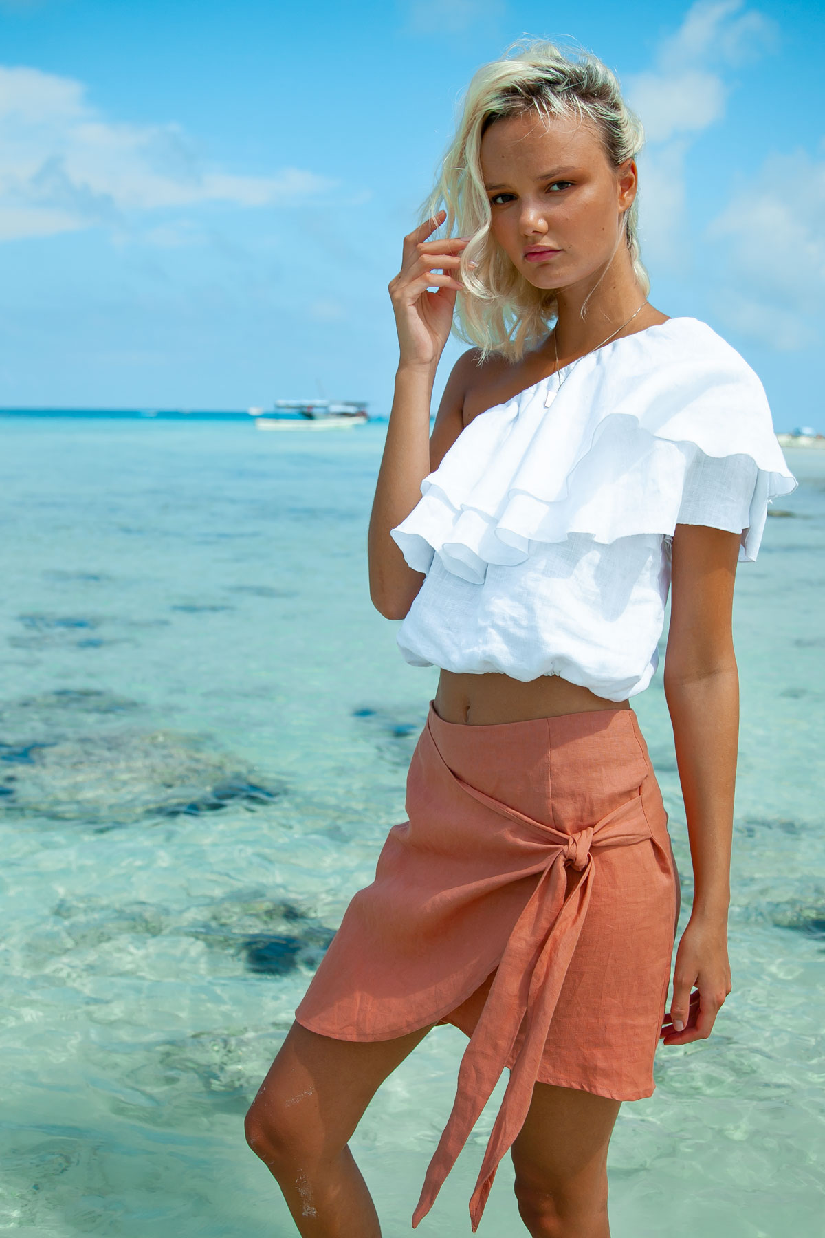 Sustainable linen clothing skirt by Palm Collective