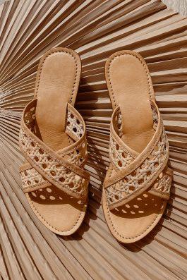 Vegan-slides-sandals-woven-rattan-shoes