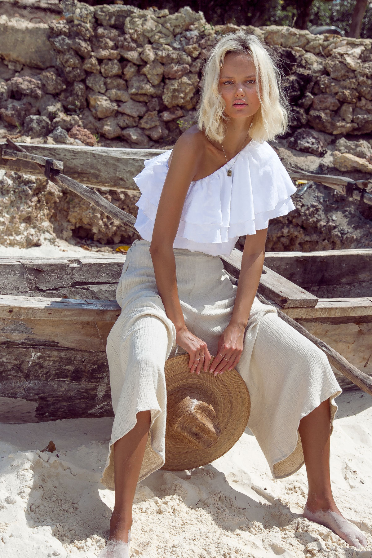 Sustainable Fashion brand wholesale one shoulder top blouse linen by palm Collective with beach pants