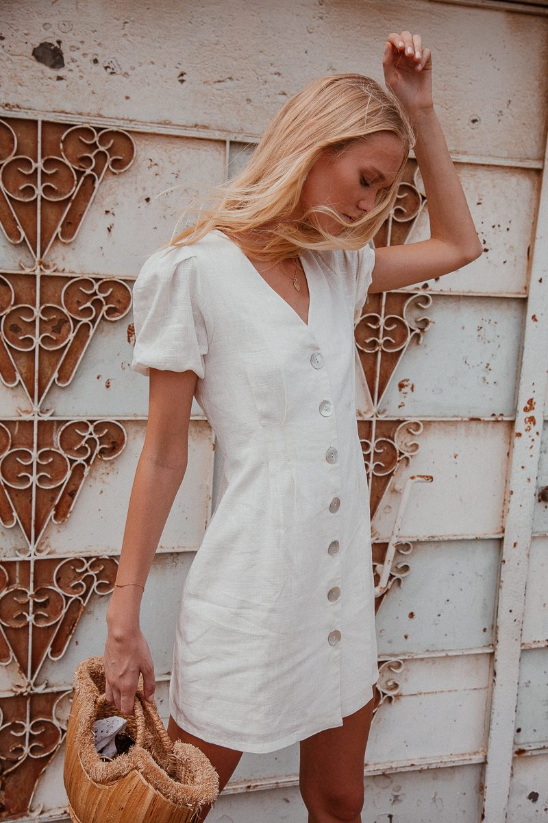 Aria white linen dress with buttons shift dress with shirt sleeves 3